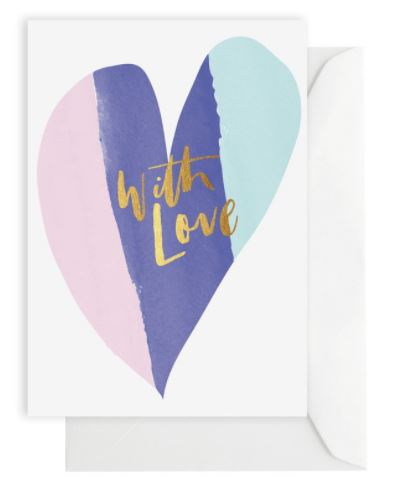 Greeting Card – WITH LOVE WATERCOLOUR HEART