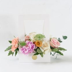 Presented in our new signature carrying boxes is an array of pretty in pink blooms - perfect for birthdays, bridal showers, new parents, or simply to brighten someone's day! 20cmW x 30cmH