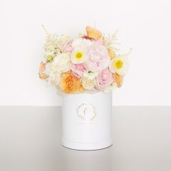 This design is pretty in pink and includes fragrant blooms appealing to all senses. Showy blooms are designed into our signature cylinder box; perfect for making your recipient blush! Image shows a medium boxed arrangement 28cmW x 35cmH